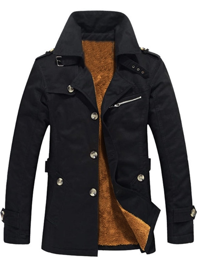 Lapel Thicken Warm Solid Color Plain Slim Men's Trench Coat