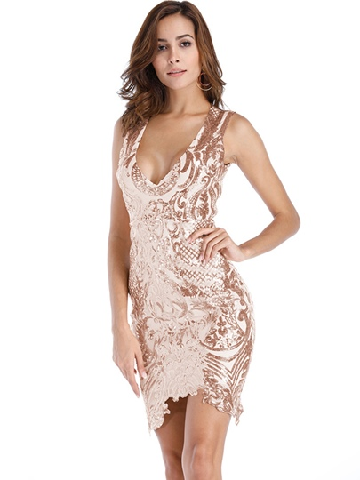 Champagne Open Back Sequins Womens Bodycon Dress