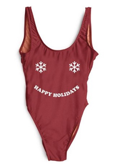 Christmas Letter Snowflake Print U-Neck One-Piece Swimsuit