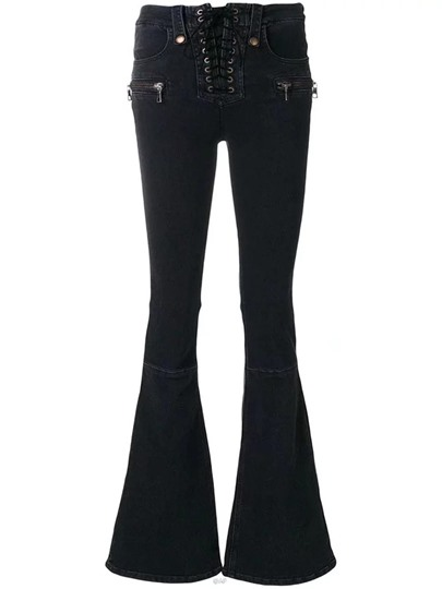 Lace-Up Zipper Womens Flare Jeans 13097964