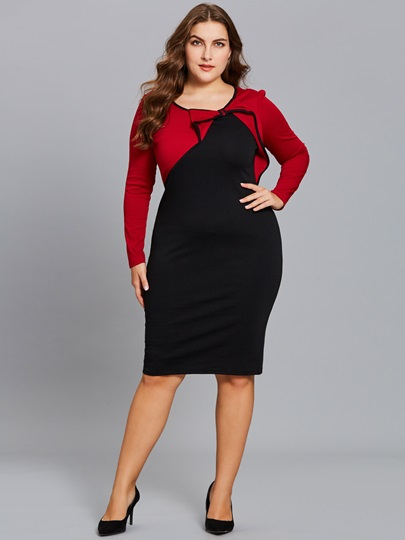 Red Plus Size Knot Women's Bodycon Dress
