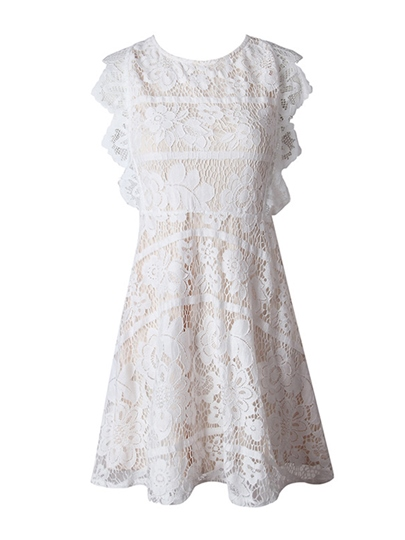 White Open Back Women's Lace Dress