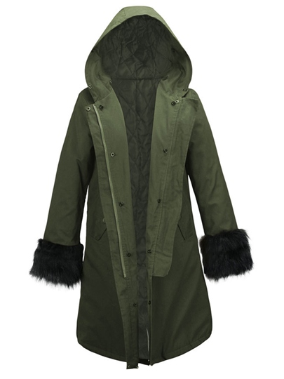 Hooded Faux Fur Detachable Line Parkas Women's Overcoat