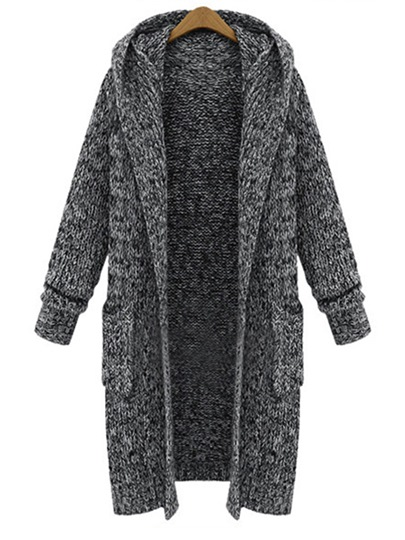 Loose Hooded Pocket Thick Women's Cardigan
