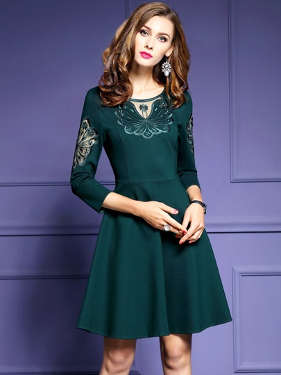 3/4 Sleeve Lace Patchwork Women's Skater Dress