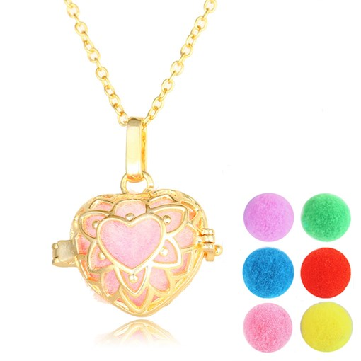 Gold Heart Hollow Out Essential Oil Diffuser Necklace