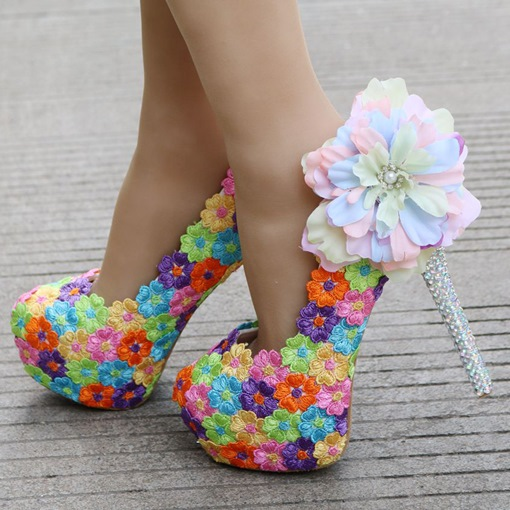 Appliques Colorful Floral Rhinestone Heel Wedding Shoes for Bride