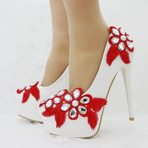 High Heel Appliques Floral Rhinestone Wedding Shoes for Women