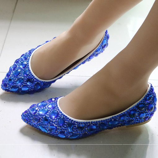 Irregular Rhinestones Block Heel Flas Shoes Wedding Shoes for Women