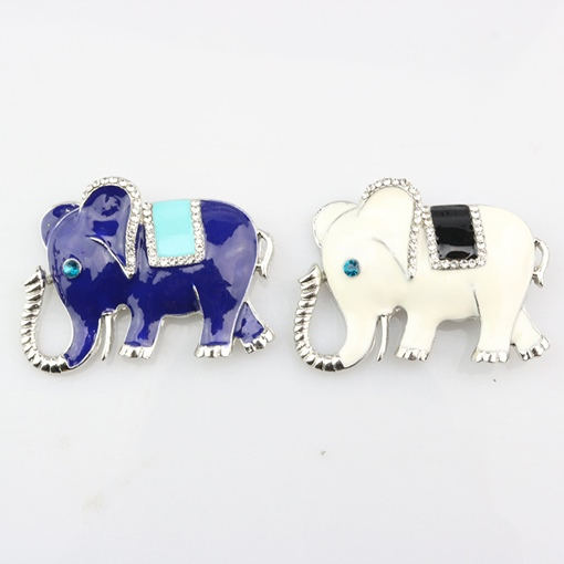 Oil Drip Diamante Elephant Shaped Enamel Pins