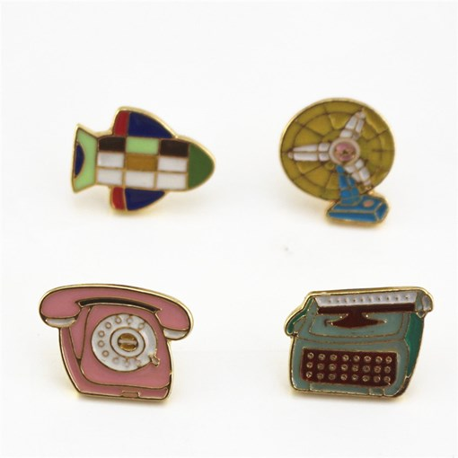 4Pcs Telephone Electric Fan Telegraph Transmitter Enamel Pins