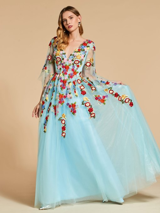 Backless Floral Embroidery Evening Dress with Sleeves