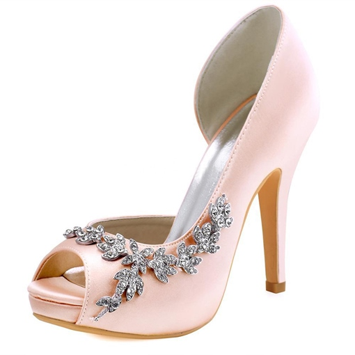 Silk Fabric Rhinestone Platform High Heels Bridal Wedding Shoes