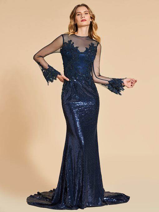 Reflective Dress Appliques Beaded Sequins Mermaid Evening Dress
