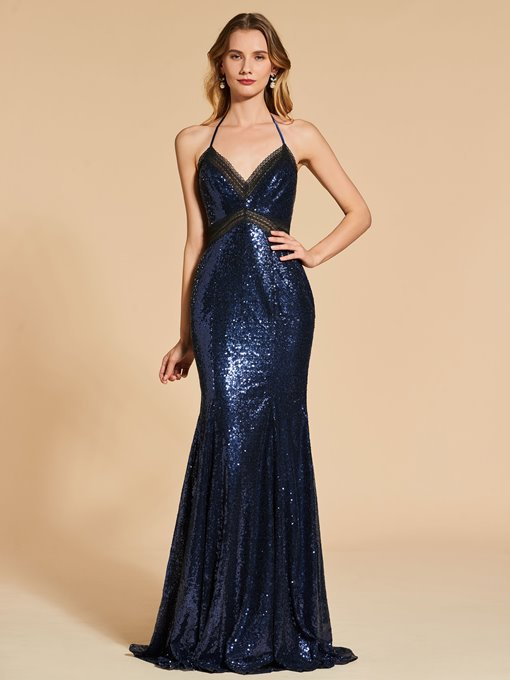 Reflective Dress Mermaid Lace Sequins Halter Evening Dress