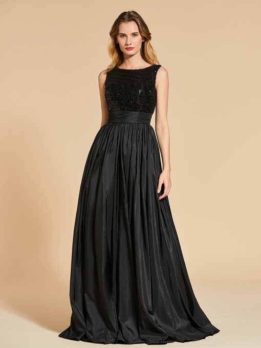 A-Line Bateau Neck Sequins Evening Dress