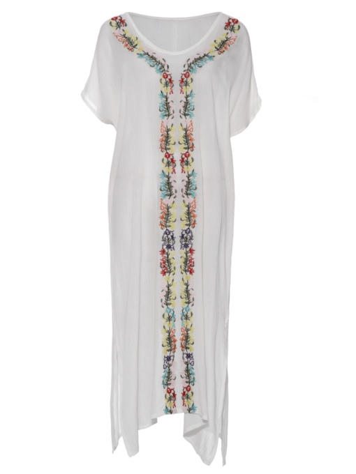 V-Neck Floral Embroideried Women's Day Dress