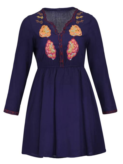 V-Neck Floral Embroideried Women's A-Line Dress