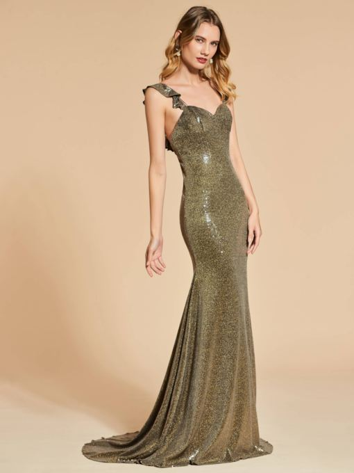 Reflective Dress Mermaid Straps Ruffles Sequins Evening Dress