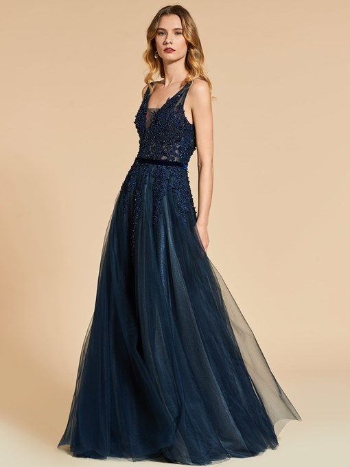 A-Line Lace Straps Backless Floor-Length Evening Dress