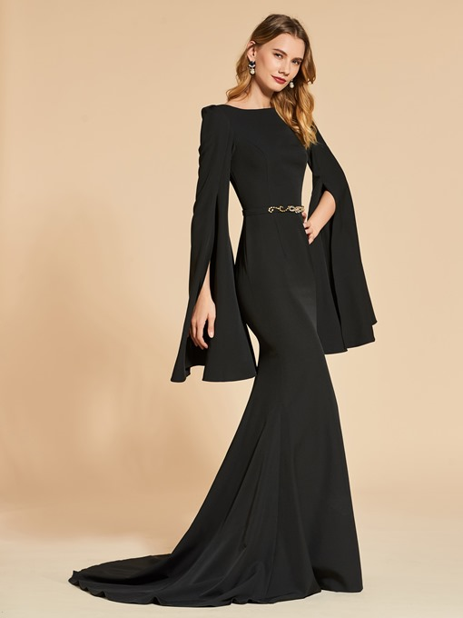Mermaid Long Sleeves Trumpet Bateau Evening Dress