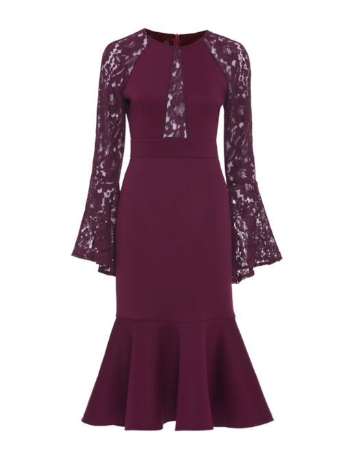 Dark Red Bell Sleeve Patchwork Women's Sheath Dress