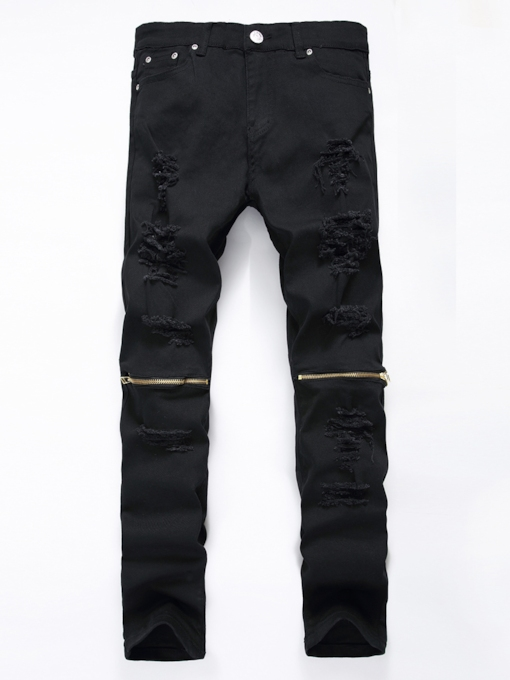 Zipper Decorated Elastic Slim Men's Casual Jeans