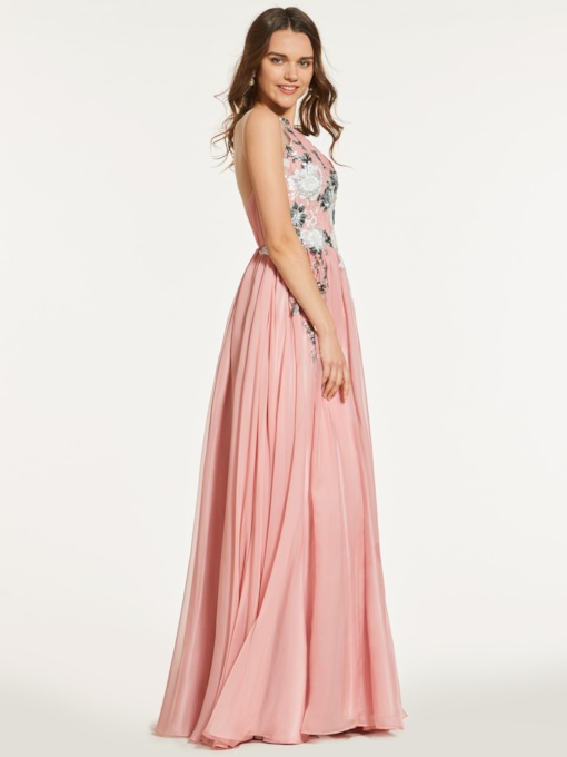 A-Line Appliques Scoop Backless Prom Dress