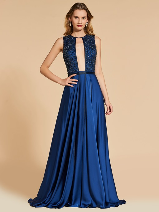 Scoop Backless A-Line Beading Evening Dress