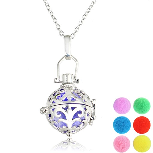 Bronze Silver Plated Essential Oil Diffuser Ball Necklace
