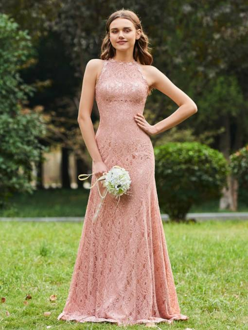 Straps Long Sheath Lace Bridesmaid Dress