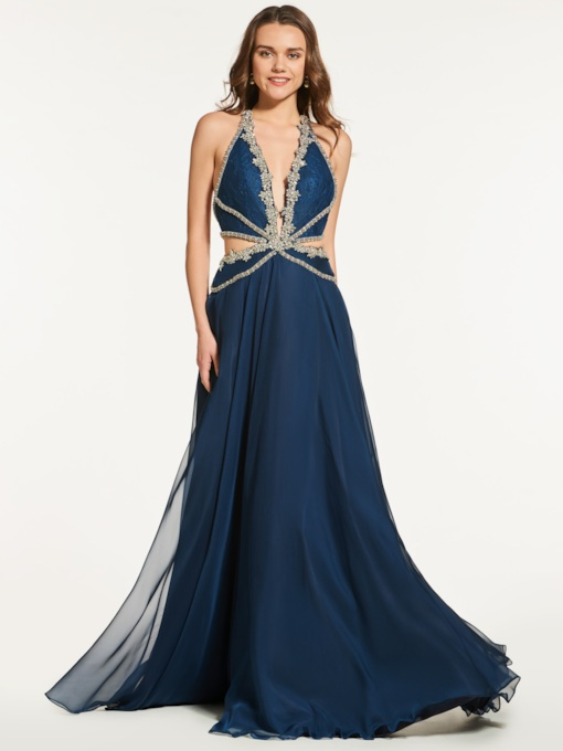 A-Line Beading Backless Halter Prom Dress