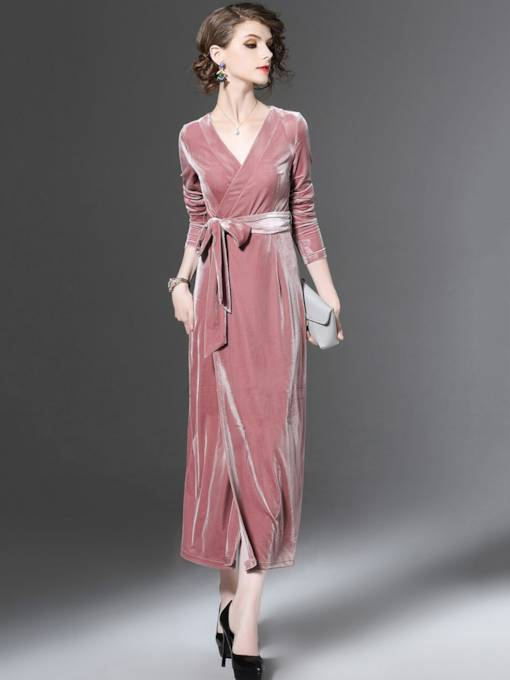 Lace up Pink Velvet Women's Maxi Dress