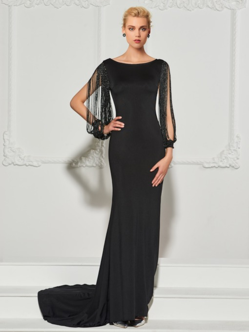 Bateau Beading Mermaid Backless Evening Dress