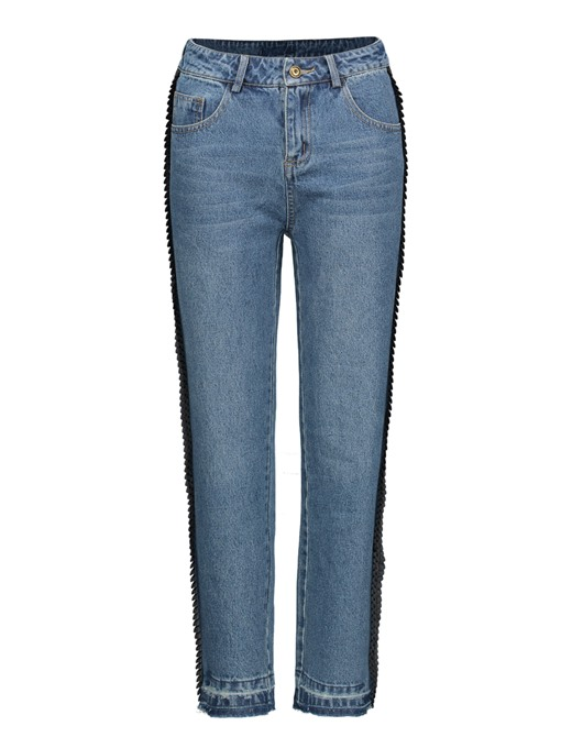 Patchwork Ankle Length Straight Women's Slim Jeans