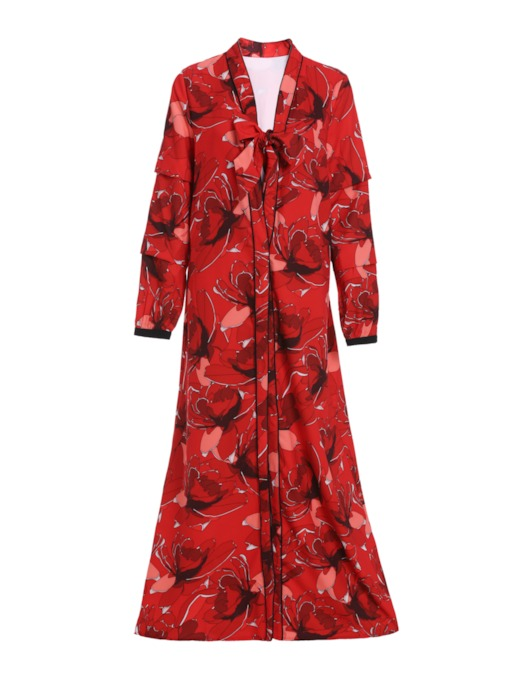 Floral Lace-Up Heap Sleeve Women's Trench Coat