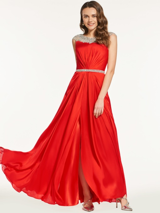 A-Line Cap Sleeves Beading Bateau Prom Dress