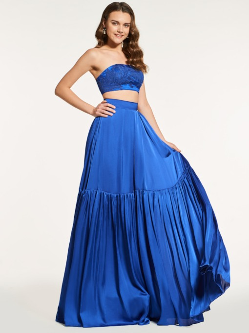 A-Line Strapless Sleeveless Long Prom Dress