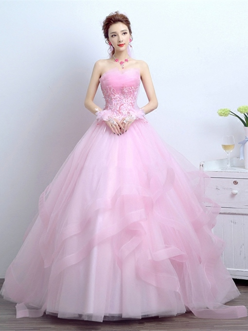 Appliques Flowers Scalloped-Edge Floor-Length Quinceanera Dress