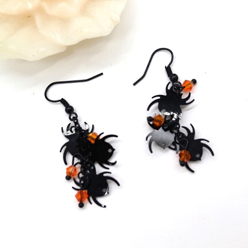 Halloween Rhinestone Black Spider Earrings