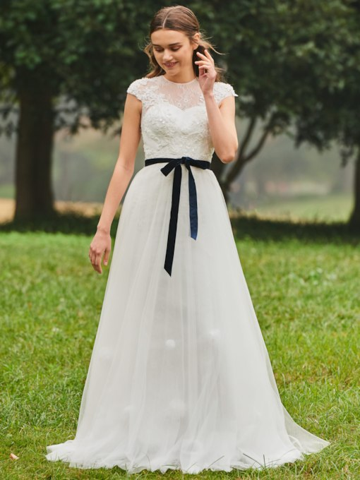 Cap Sleeve Beaded Velvet Belt Lace Wedding Dress