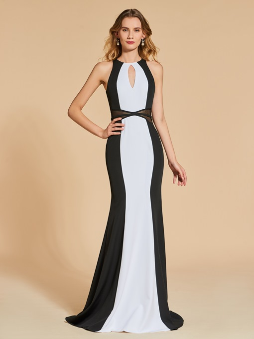 Jewel Scoop Sheath Multi Color Evening Dress