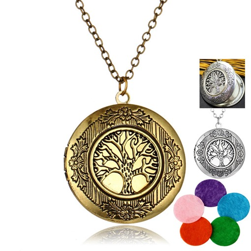 Bronze Life Tree Essential Oil Diffuser Aromatherapy Necklace