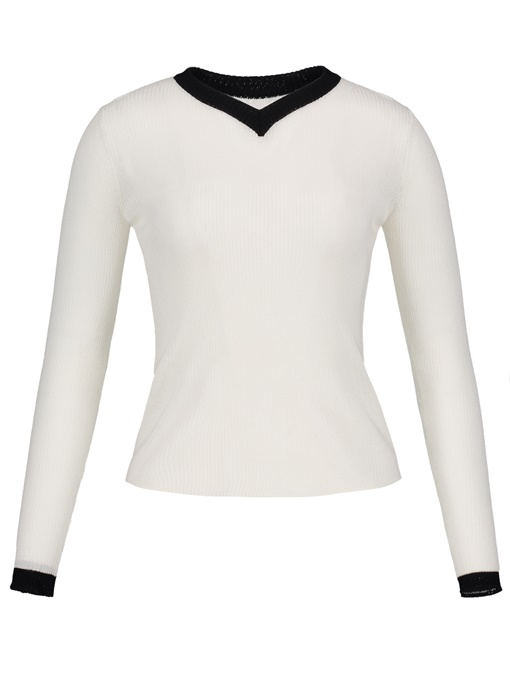 Color Block Long Sleeve Women's Kintted Tee