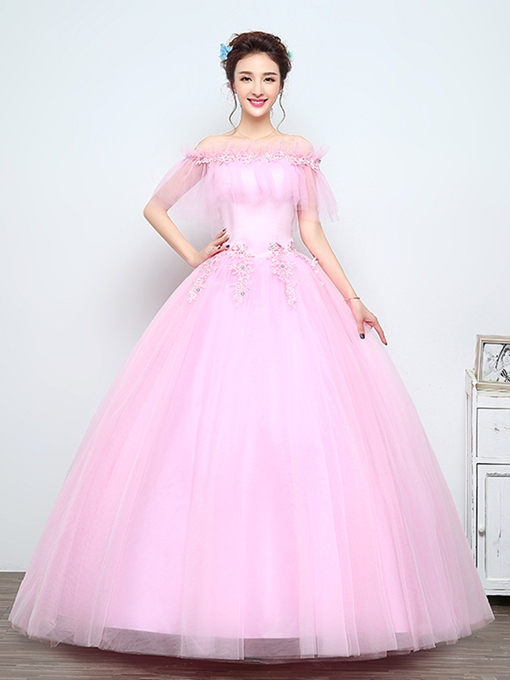 Off-the-Shoulder Appliques Beading Floor-Length Quinceanera Dress