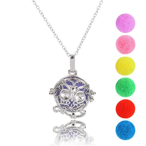 Owl Shaped Cotton Ball Hollow Out Aromatherapy Necklace