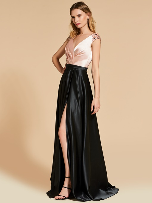 A-Line V-Neck Multi Color Split-Front Pleats Evening Dress