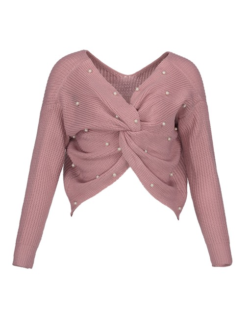 Beading Decorative Pleated Plain Women's Sweater