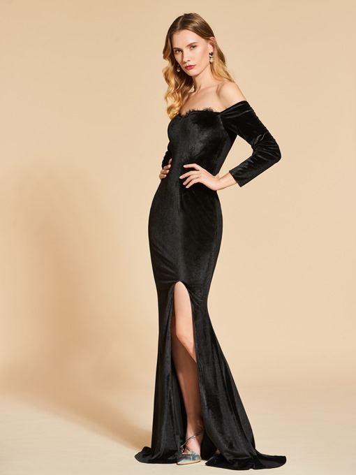 Off-the-Shoulder Split-Front Trumpet Evening Dress