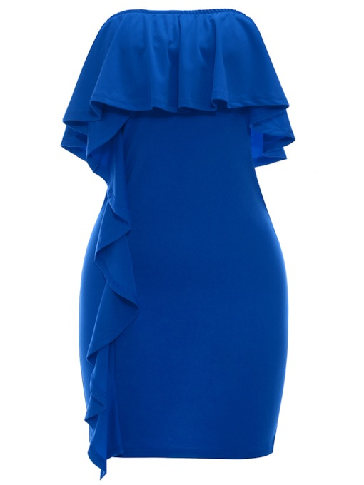 Plain Strapless Falbala Women's Bodycon Dress